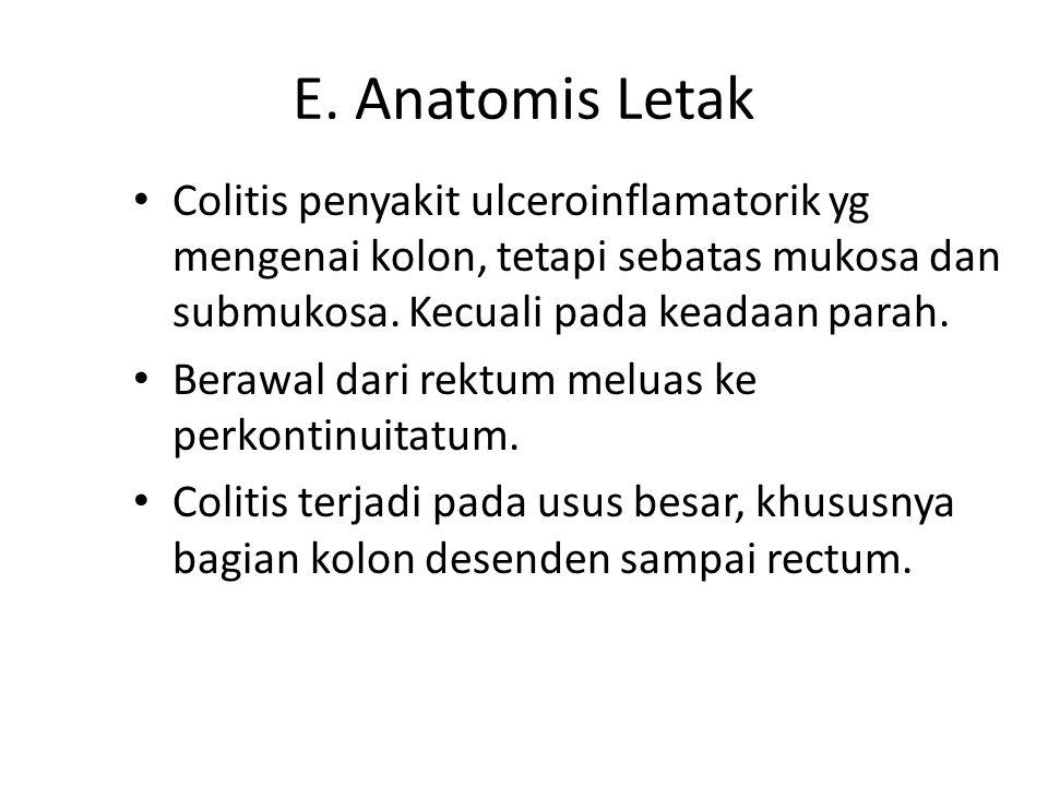 E. Anatomis Letak Colitis penyakit ulceroinflamatorik yg mengenai kolon, tetapi sebatas mukosa dan submukosa. Kecuali pada keadaan parah. Berawal dari
