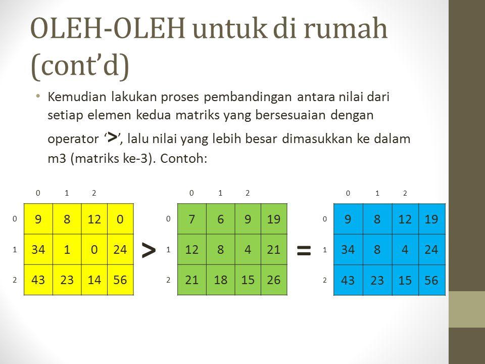 OLEH-OLEH untuk di rumah (cont'd) Kemudian lakukan proses pembandingan antara nilai dari setiap elemen kedua matriks yang bersesuaian dengan operator ' > ', lalu nilai yang lebih besar dimasukkan ke dalam m3 (matriks ke-3).