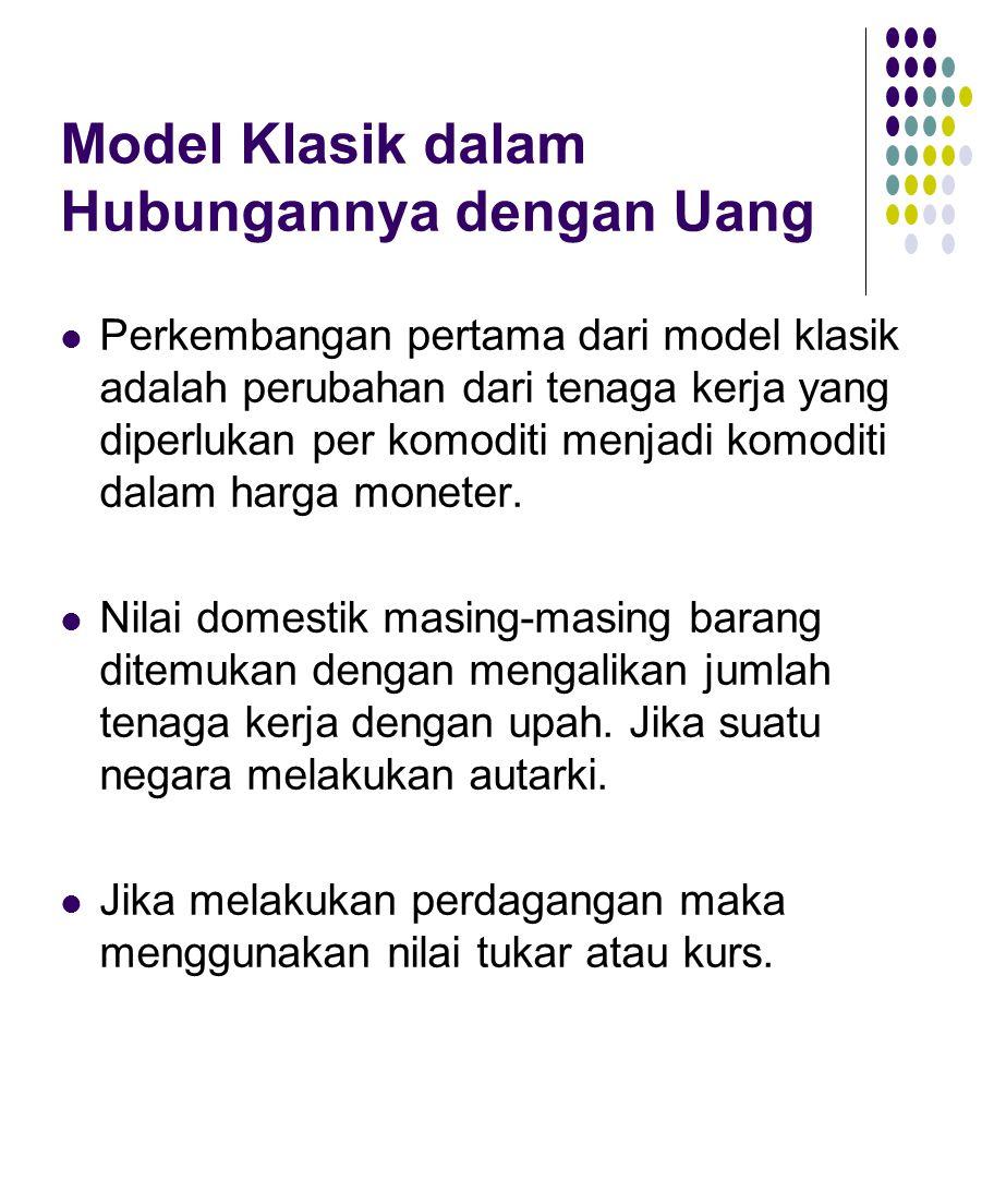 Model Klasik dalam Hubungannya dengan Uang Perkembangan pertama dari model klasik adalah perubahan dari tenaga kerja yang diperlukan per komoditi menjadi komoditi dalam harga moneter.