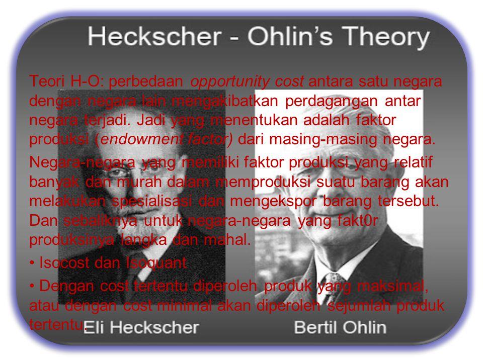 The propotional factors Theory by Eli Heckscher dan Bertil Ohlin Teori H-O: perbedaan opportunity cost antara satu negara dengan negara lain mengakiba