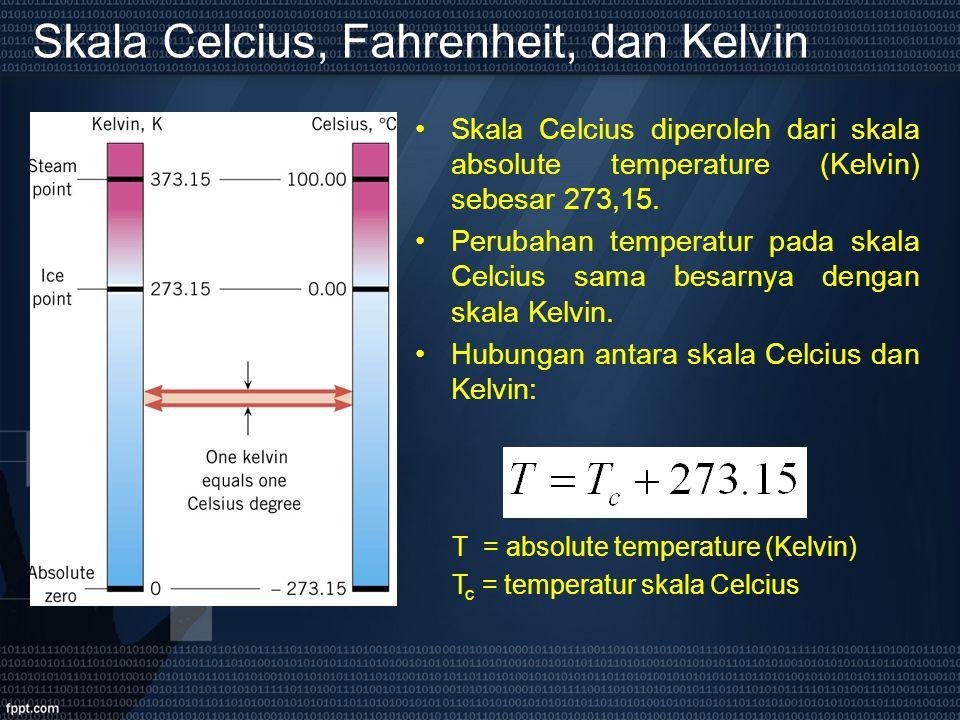Skala Celcius, Fahrenheit, dan Kelvin Skala Celcius diperoleh dari skala absolute temperature (Kelvin) sebesar 273,15. Perubahan temperatur pada skala