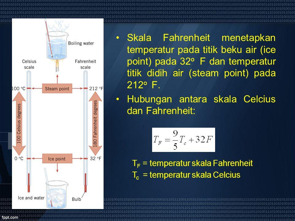 Skala Fahrenheit menetapkan temperatur pada titik beku air (ice point) pada 32 o F dan temperatur titik didih air (steam point) pada 212 o F. Hubungan