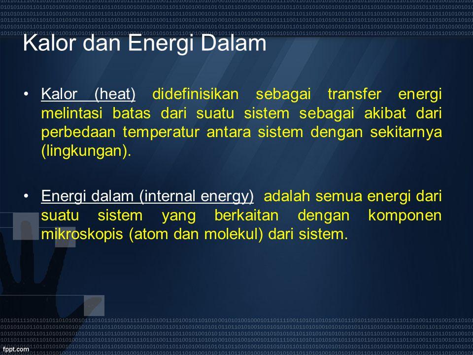 Kalor dan Energi Dalam Kalor (heat) didefinisikan sebagai transfer energi melintasi batas dari suatu sistem sebagai akibat dari perbedaan temperatur a