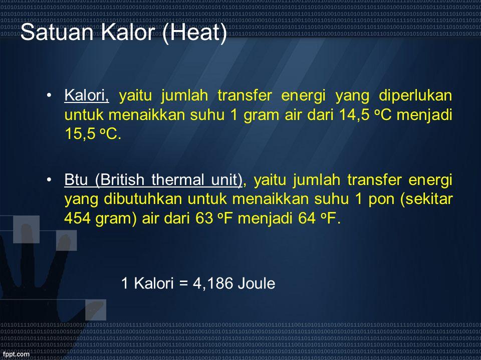 Satuan Kalor (Heat) Kalori, yaitu jumlah transfer energi yang diperlukan untuk menaikkan suhu 1 gram air dari 14,5 o C menjadi 15,5 o C. Btu (British