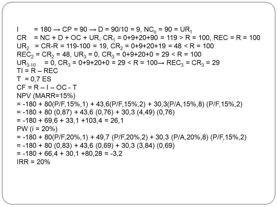I = 180 → CP = 90 → D = 90/10 = 9, NC o = 90 = UR 1 CR = NC + D + OC + UR, CR 1 = 0+9+20+90 = 119 > R = 100, REC = R = 100 UR 2 = CR-R = 119-100 = 19,