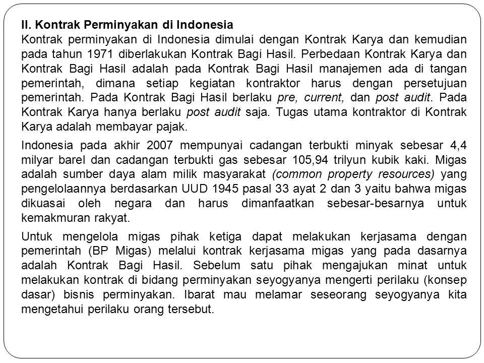 II. Kontrak Perminyakan di Indonesia Kontrak perminyakan di Indonesia dimulai dengan Kontrak Karya dan kemudian pada tahun 1971 diberlakukan Kontrak B