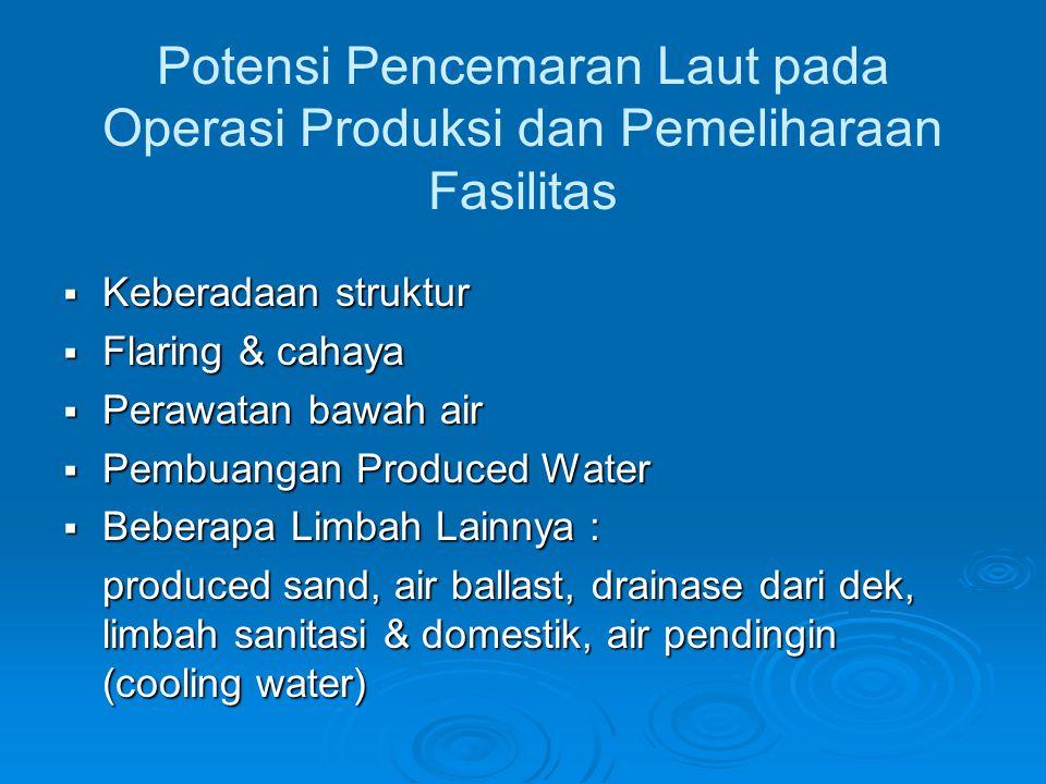 Produced Water  Air yang keluar dari sumur pengeboran bersama- sama minyak dan gas  Air ini kemudian dipisahkan dari minyak dan gas selama proses produksi menggunakan separator atau alat pendukung proses lainnya  Potensi dampak lingkungan terbesar dikarenakan pembuangan dilakukan secara kontinyu (sumber: NatureTechnology, tanpa tahun)