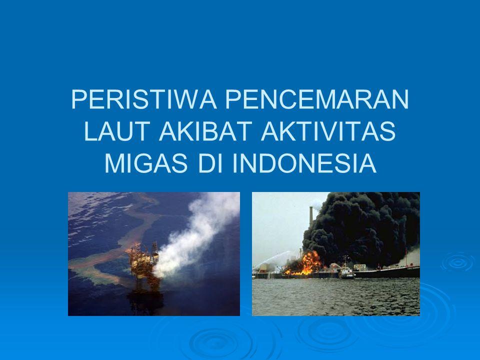 Peristiwa Tumpahan Minyak di Perairan Indonesia (Mukhtasor, 2007 dan berbagai sumber lain)