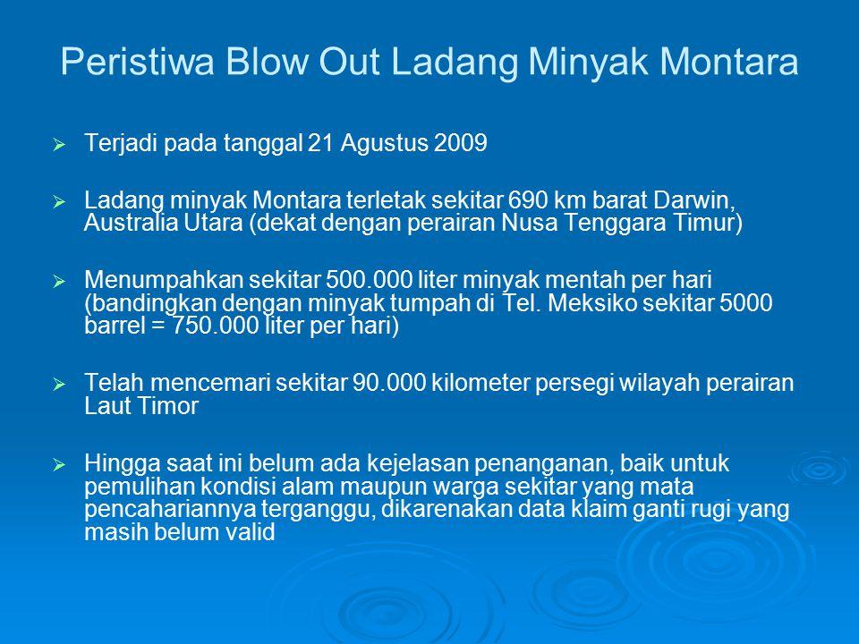 Hasil Perhitungan Perkiraan Biaya/Kerugian Total dari Sejumlah Peristiwa Tumpahan Minyak di Perairan Indonesia (Mauludiyah & Mukhtasor, 2009) TahunPeristiwa Besaran Tumpahan (ton) Biaya Total Kerugian (juta Euro) Biaya Total Kerugian (miliar Rp) 1975 T, Showa Maru – Sel.