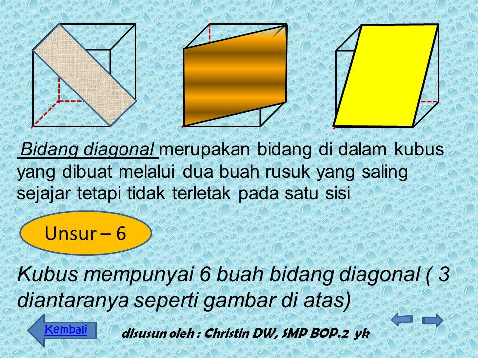 Diagonal Ruang adalah ruas garis yang menghubung kan dua titik sudut tidak sebidang yang saling berha dapan Kubus mempunyai 4 diagonal ruang disusun o