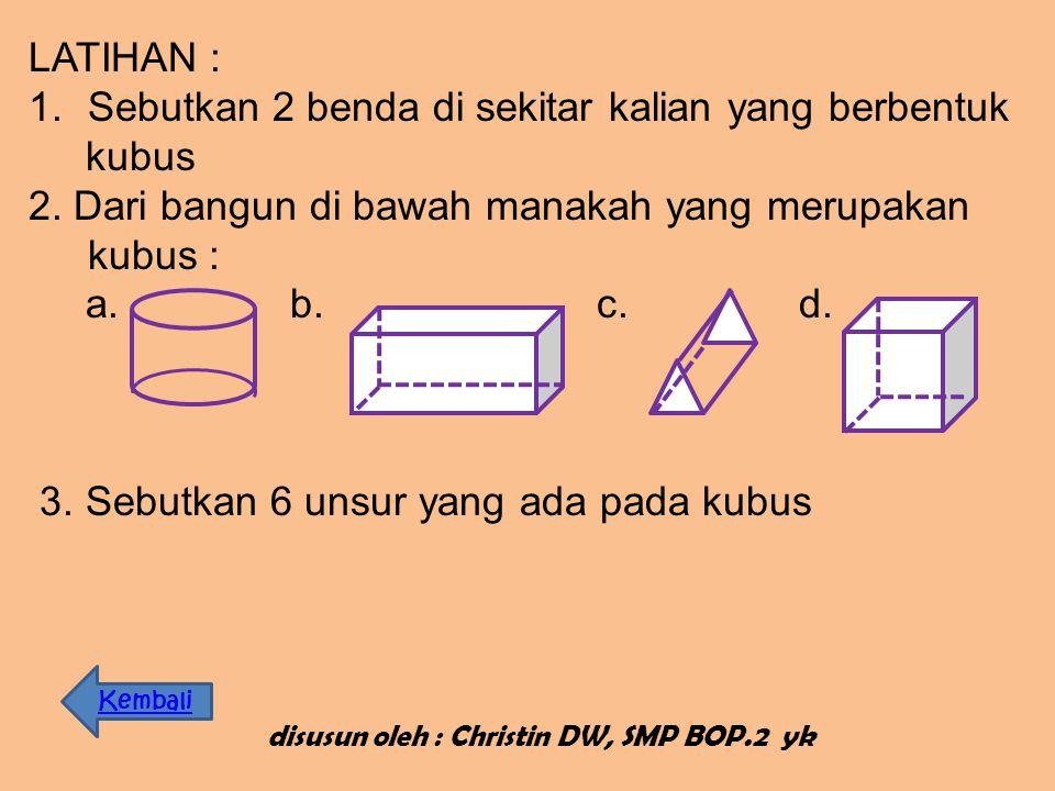 disusun oleh : Christin DW, SMP BOP.2 yk Bidang diagonal merupakan bidang di dalam kubus yang dibuat melalui dua buah rusuk yang saling sejajar tetapi