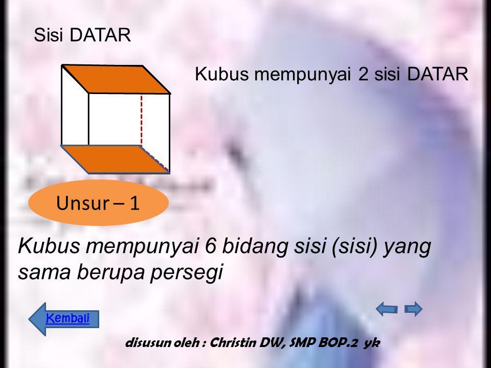 Sisi kubus adalah bidang persegi yang memba tasi bangun ruang kubus. Sisi kubus terdiri dari : sisi tegak dan sisi datar Unsur - unsur Sisi TEGAK disu