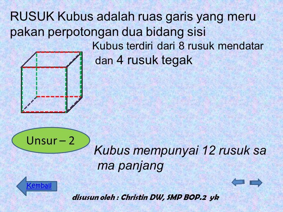 Kubus mempunyai 2 sisi DATAR Kubus mempunyai 6 bidang sisi (sisi) yang sama berupa persegi Sisi DATAR disusun oleh : Christin DW, SMP BOP.2 yk Unsur –