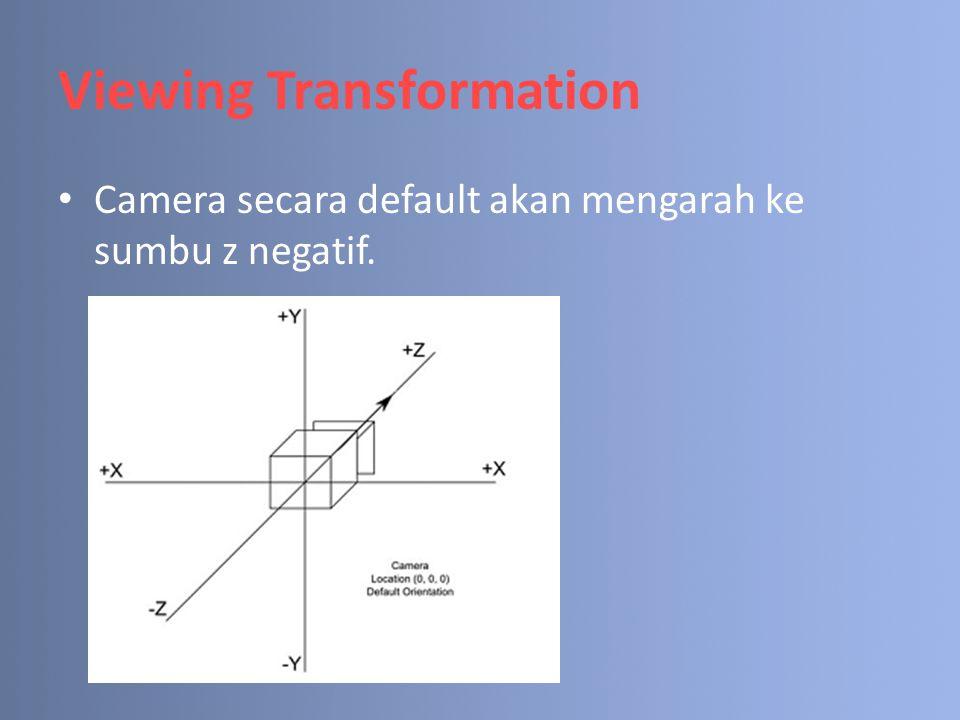 Viewing Transformation Camera secara default akan mengarah ke sumbu z negatif.
