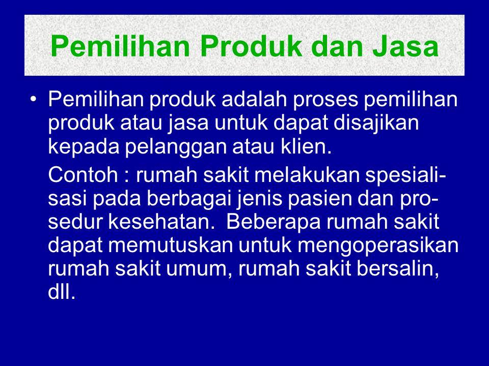 Pemilihan Produk dan Jasa Pemilihan produk adalah proses pemilihan produk atau jasa untuk dapat disajikan kepada pelanggan atau klien. Contoh : rumah