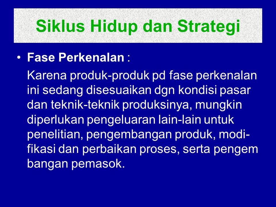 Siklus Hidup dan Strategi Fase Perkenalan : Karena produk-produk pd fase perkenalan ini sedang disesuaikan dgn kondisi pasar dan teknik-teknik produks