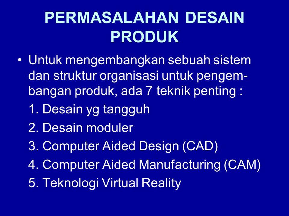 PERMASALAHAN DESAIN PRODUK Untuk mengembangkan sebuah sistem dan struktur organisasi untuk pengem- bangan produk, ada 7 teknik penting : 1. Desain yg