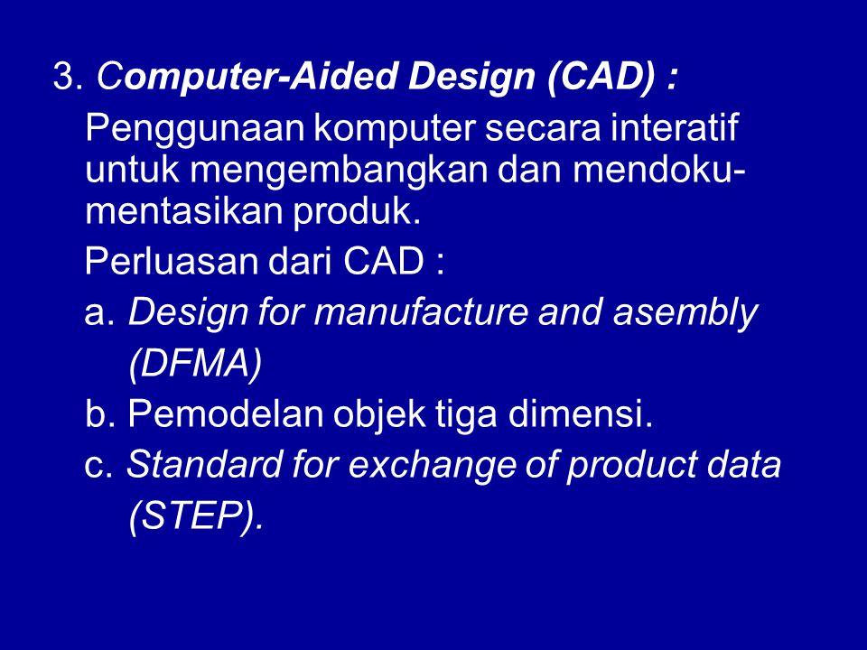 3. Computer-Aided Design (CAD) : Penggunaan komputer secara interatif untuk mengembangkan dan mendoku- mentasikan produk. Perluasan dari CAD : a. Desi