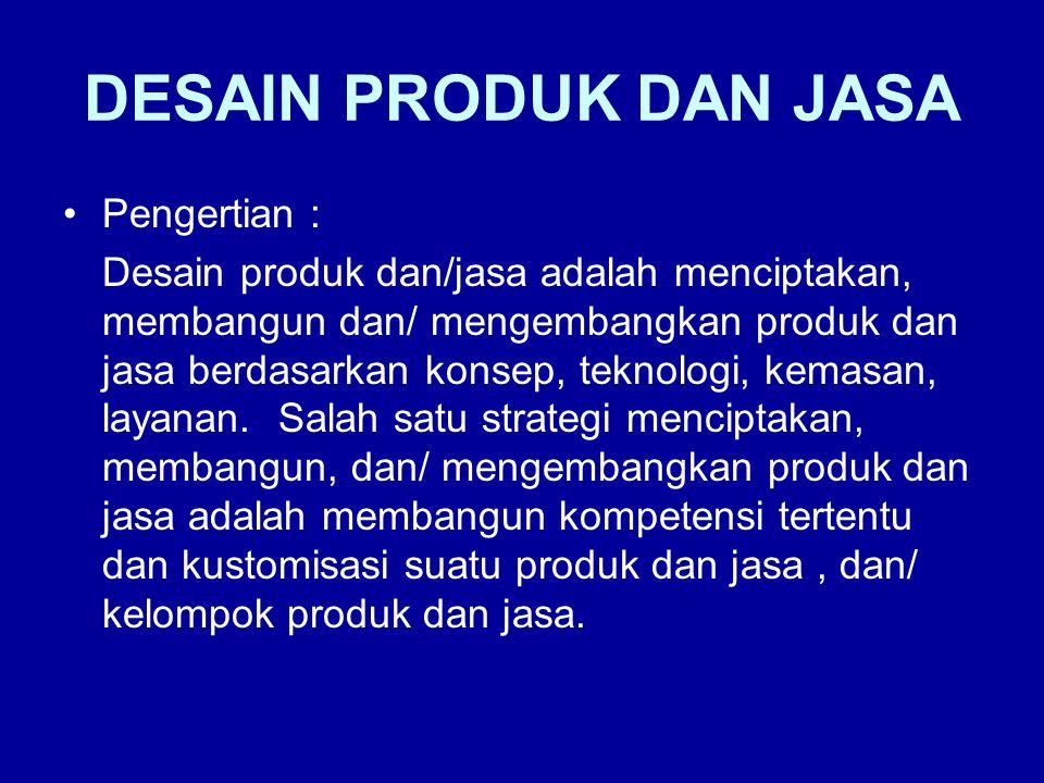 DESAIN PRODUK DAN JASA Pengertian : Desain produk dan/jasa adalah menciptakan, membangun dan/ mengembangkan produk dan jasa berdasarkan konsep, teknol