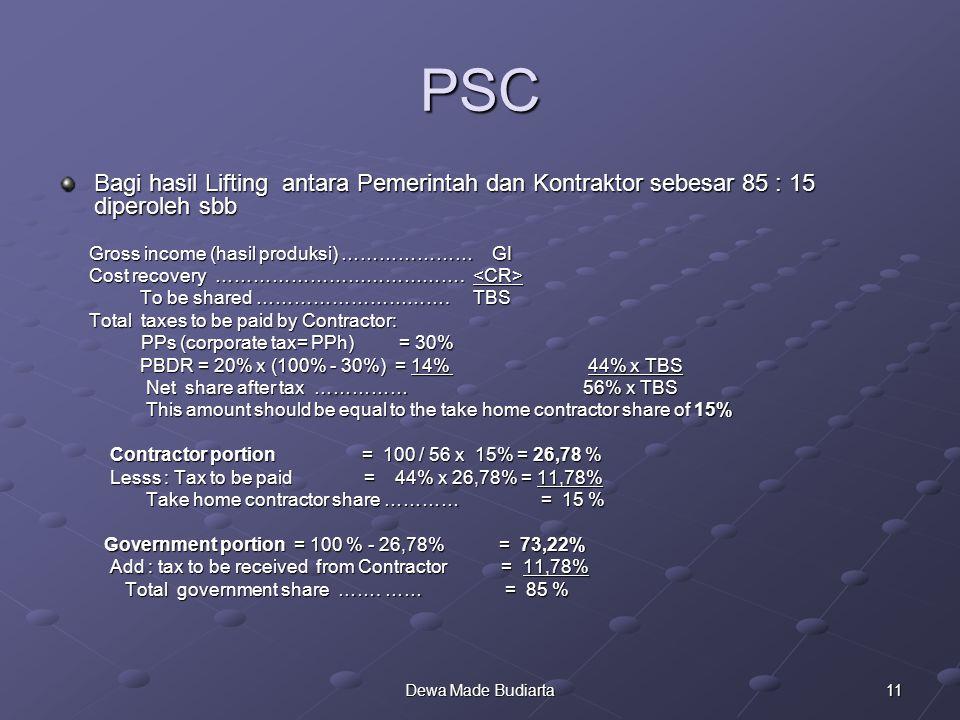 11Dewa Made Budiarta PSC Bagi hasil Lifting antara Pemerintah dan Kontraktor sebesar 85 : 15 diperoleh sbb Gross income (hasil produksi) ………………… GI Gr