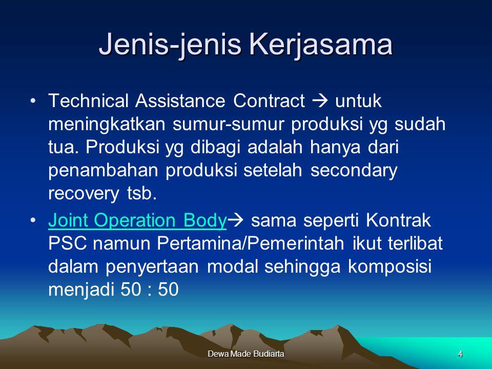 Dewa Made Budiarta4 Jenis-jenis Kerjasama Technical Assistance Contract  untuk meningkatkan sumur-sumur produksi yg sudah tua. Produksi yg dibagi ada