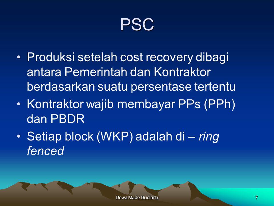 Dewa Made Budiarta7 PSC Produksi setelah cost recovery dibagi antara Pemerintah dan Kontraktor berdasarkan suatu persentase tertentu Kontraktor wajib