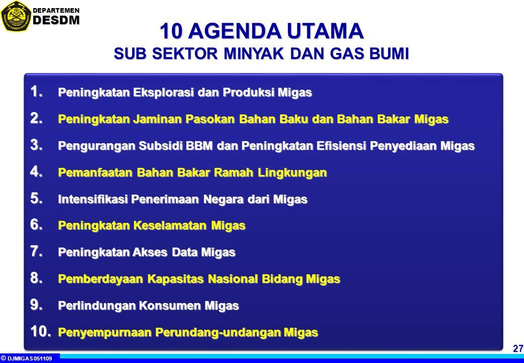 © DJMIGAS 051109 DEPARTEMENDESDM 27 10 AGENDA UTAMA SUB SEKTOR MINYAK DAN GAS BUMI 1.