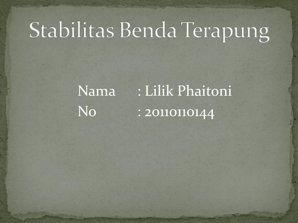 Nama : Lilik Phaitoni No : 20110110144