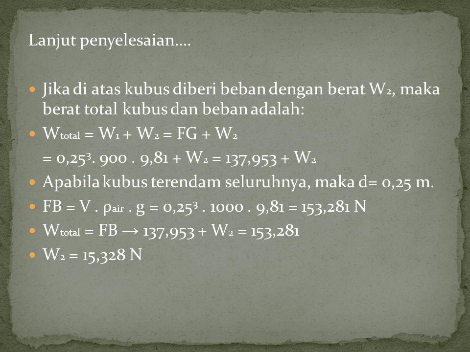 Lanjut penyelesaian…. Jika di atas kubus diberi beban dengan berat W 2, maka berat total kubus dan beban adalah: W total = W 1 + W 2 = FG + W 2 = 0,25