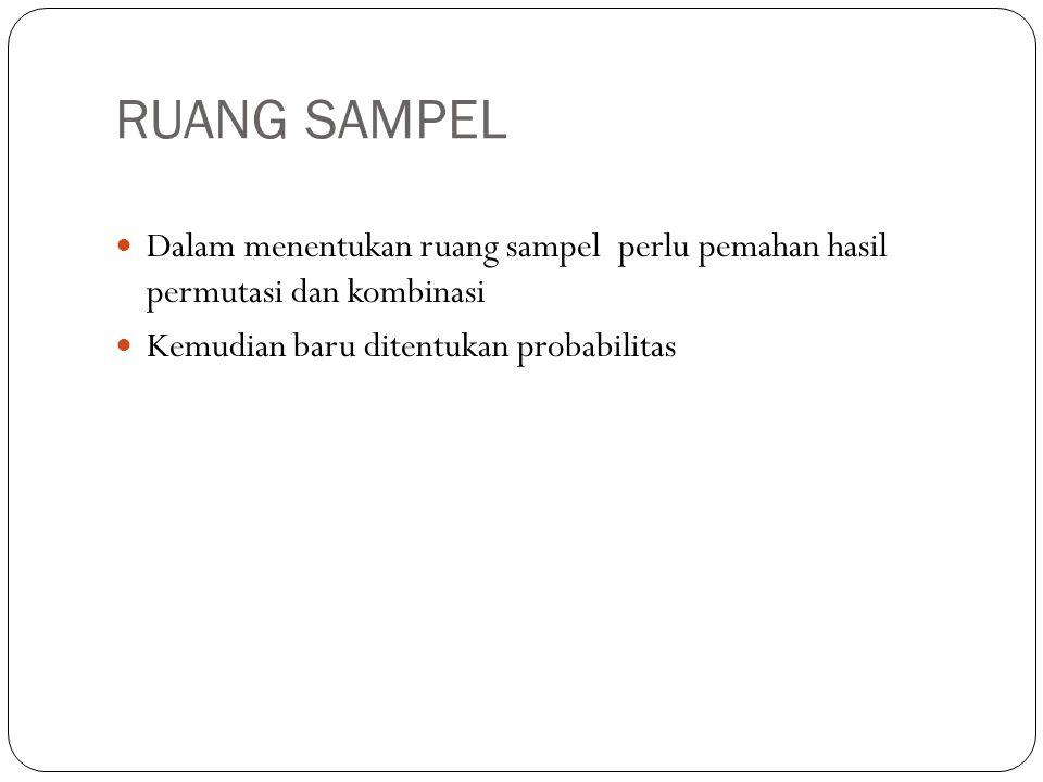 RUANG SAMPEL Dalam menentukan ruang sampel perlu pemahan hasil permutasi dan kombinasi Kemudian baru ditentukan probabilitas