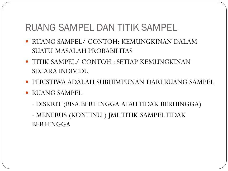 RUANG SAMPEL DAN TITIK SAMPEL RUANG SAMPEL/ CONTOH: KEMUNGKINAN DALAM SUATU MASALAH PROBABILITAS TITIK SAMPEL/ CONTOH : SETIAP KEMUNGKINAN SECARA INDIVIDU PERISTIWA ADALAH SUBHIMPUNAN DARI RUANG SAMPEL RUANG SAMPEL - DISKRIT (BISA BERHINGGA ATAU TIDAK BERHINGGA) - MENERUS (KONTINU ) JML TITIK SAMPEL TIDAK BERHINGGA