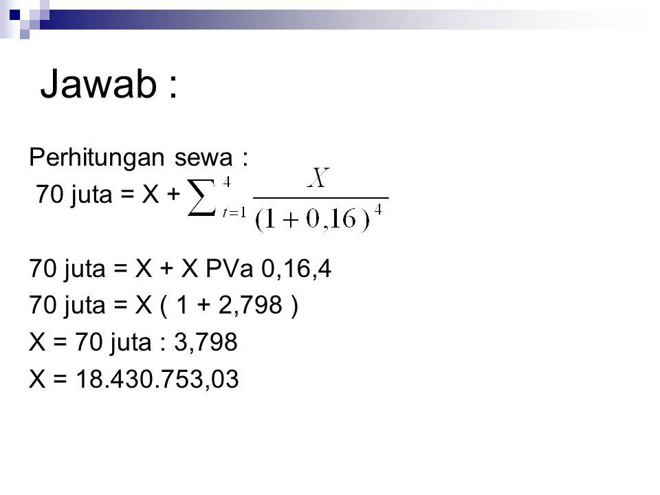 Jawab : Perhitungan sewa : 70 juta = X + 70 juta = X + X PVa 0,16,4 70 juta = X ( 1 + 2,798 ) X = 70 juta : 3,798 X = 18.430.753,03
