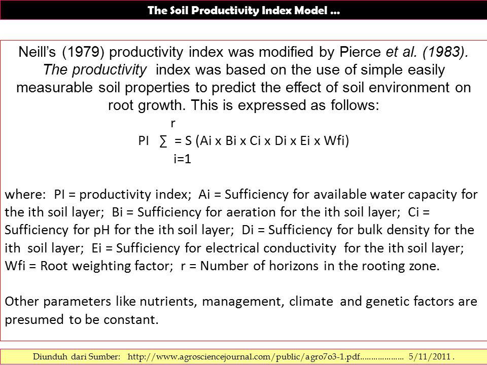 The Soil Productivity Index Model ….