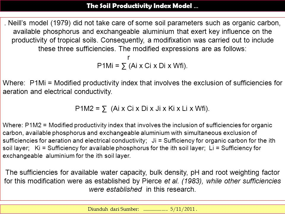 The Soil Productivity Index Model ….