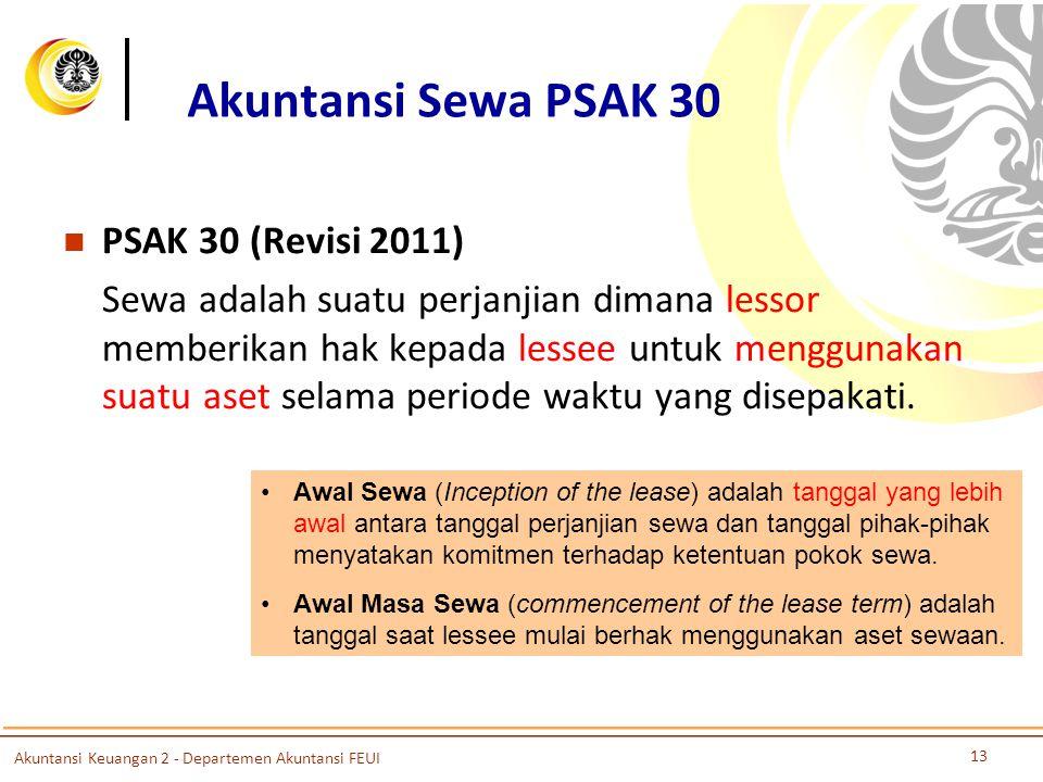 Akuntansi Sewa PSAK 30 PSAK 30 (Revisi 2011) Sewa adalah suatu perjanjian dimana lessor memberikan hak kepada lessee untuk menggunakan suatu aset selama periode waktu yang disepakati.
