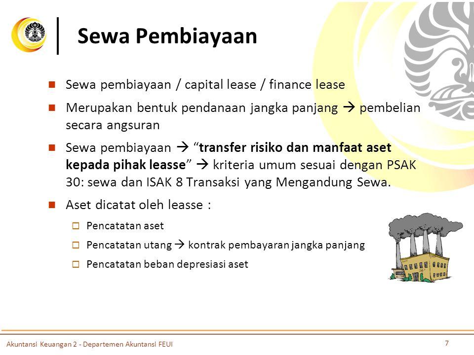 Sewa Pembiayaan Sewa pembiayaan / capital lease / finance lease Merupakan bentuk pendanaan jangka panjang  pembelian secara angsuran Sewa pembiayaan  transfer risiko dan manfaat aset kepada pihak leasse  kriteria umum sesuai dengan PSAK 30: sewa dan ISAK 8 Transaksi yang Mengandung Sewa.