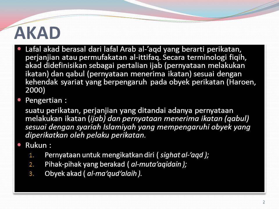 AKAD Lafal akad berasal dari lafal Arab al-'aqd yang berarti perikatan, perjanjian atau permufakatan al-ittifaq.