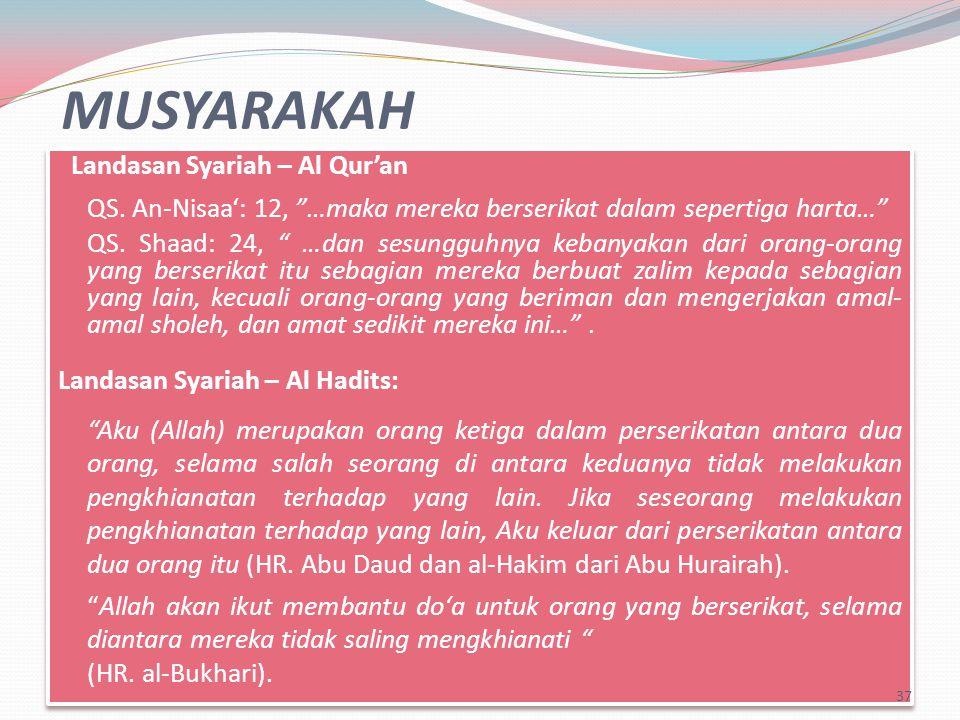 MUSYARAKAH Landasan Syariah – Al Qur'an QS.