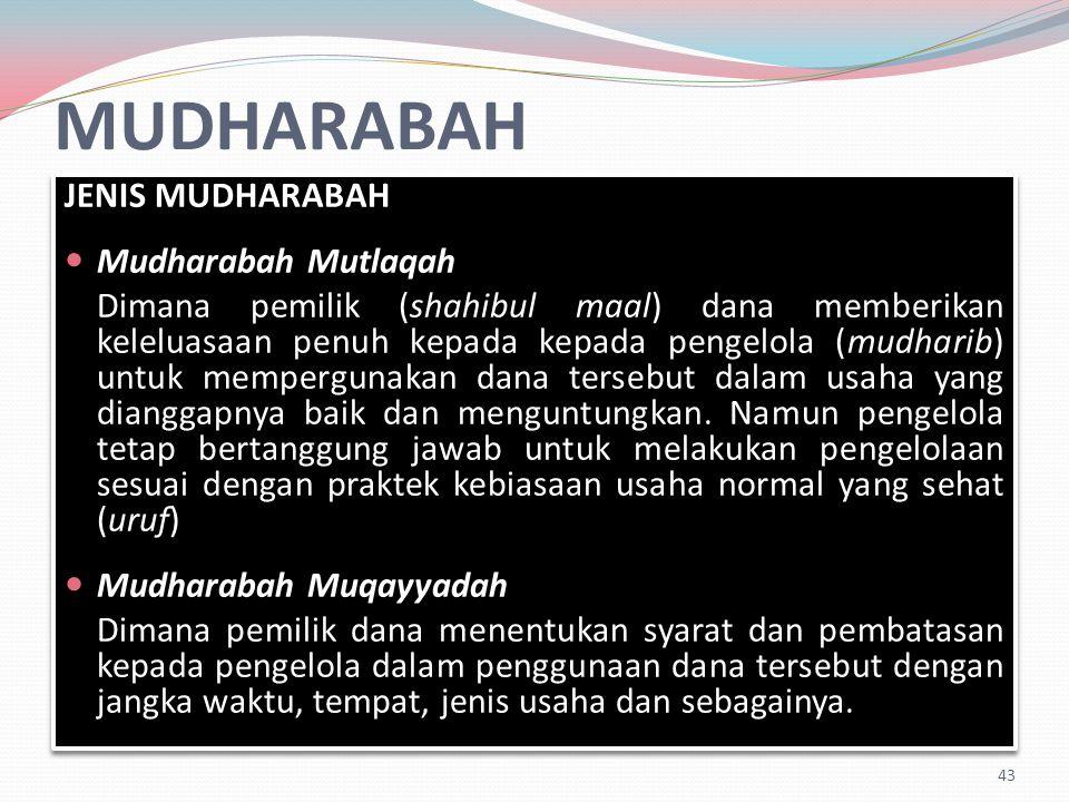 MUDHARABAH JENIS MUDHARABAH Mudharabah Mutlaqah Dimana pemilik (shahibul maal) dana memberikan keleluasaan penuh kepada kepada pengelola (mudharib) untuk mempergunakan dana tersebut dalam usaha yang dianggapnya baik dan menguntungkan.