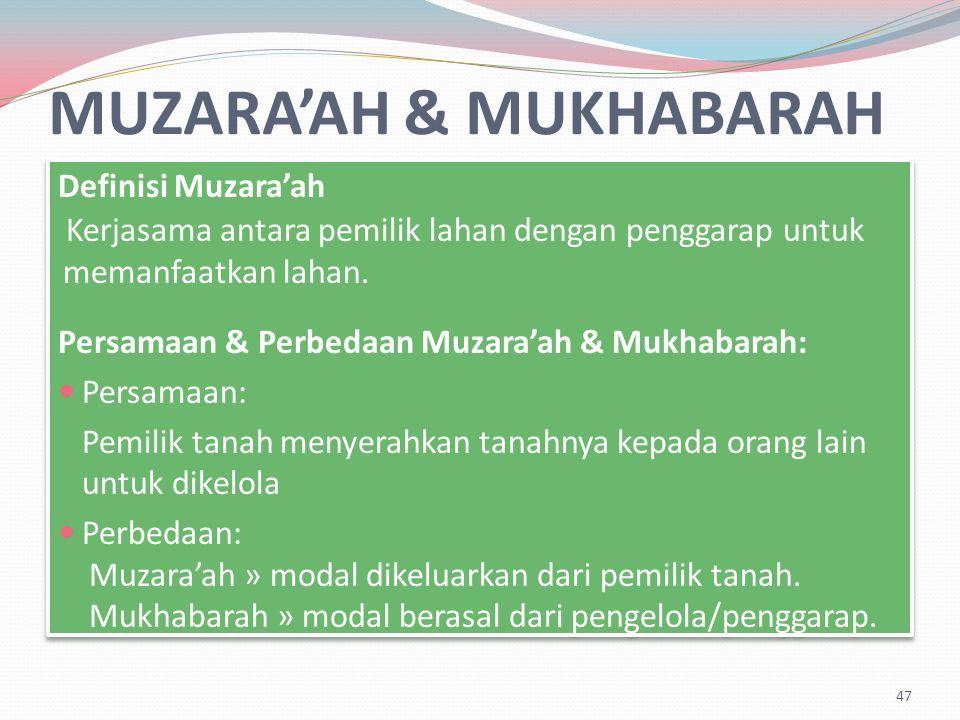 MUZARA'AH & MUKHABARAH Definisi Muzara'ah Kerjasama antara pemilik lahan dengan penggarap untuk memanfaatkan lahan.