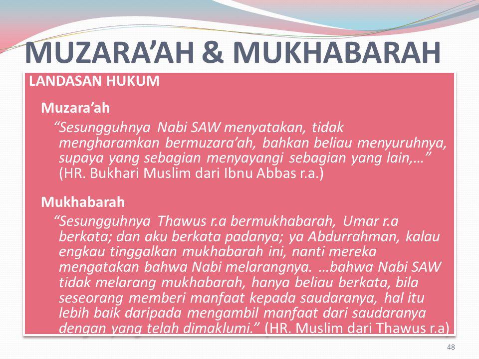 MUZARA'AH & MUKHABARAH LANDASAN HUKUM Muzara'ah Sesungguhnya Nabi SAW menyatakan, tidak mengharamkan bermuzara'ah, bahkan beliau menyuruhnya, supaya yang sebagian menyayangi sebagian yang lain,… (HR.