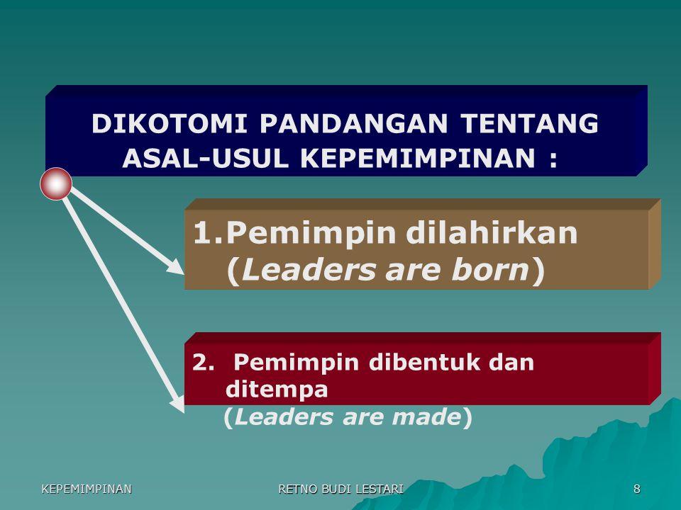 KEPEMIMPINAN RETNO BUDI LESTARI 7 6. Keseragaman 5. Barang 4. Kompetisi 3. Kontrol 2. Stabilitas 1. Masa industri 6. keanekaragaman 5. orang & hubunga