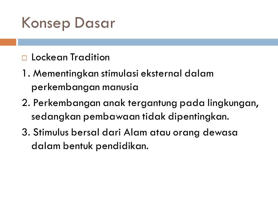 Konsep Dasar  Lockean Tradition 1. Mementingkan stimulasi eksternal dalam perkembangan manusia 2. Perkembangan anak tergantung pada lingkungan, sedan