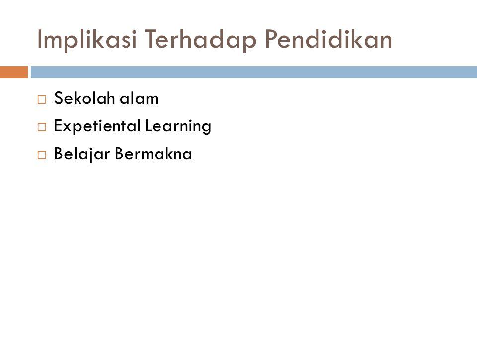 Implikasi Terhadap Pendidikan  Sekolah alam  Expetiental Learning  Belajar Bermakna