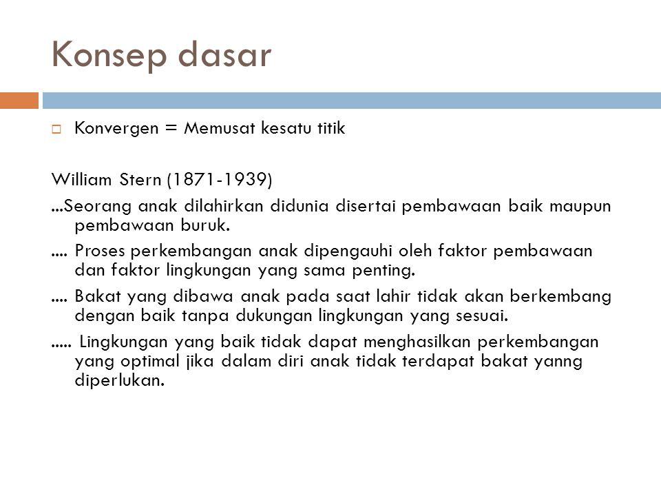 Konsep dasar  Konvergen = Memusat kesatu titik William Stern (1871-1939)...Seorang anak dilahirkan didunia disertai pembawaan baik maupun pembawaan b
