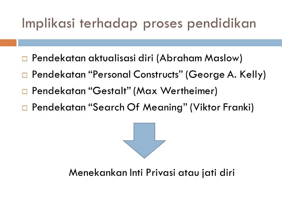"Implikasi terhadap proses pendidikan  Pendekatan aktualisasi diri (Abraham Maslow)  Pendekatan ""Personal Constructs"" (George A. Kelly)  Pendekatan"