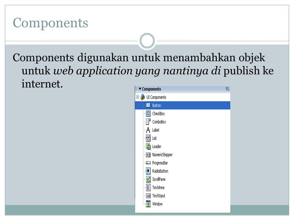 Components Components digunakan untuk menambahkan objek untuk web application yang nantinya di publish ke internet.
