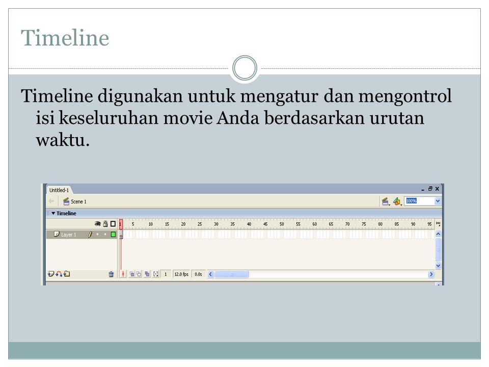 Timeline Timeline digunakan untuk mengatur dan mengontrol isi keseluruhan movie Anda berdasarkan urutan waktu.
