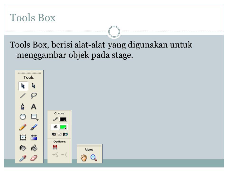Tools Box Tools Box, berisi alat-alat yang digunakan untuk menggambar objek pada stage.