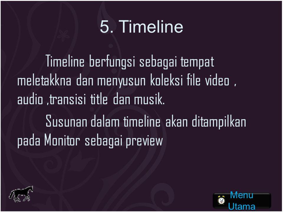 5. Timeline Timeline berfungsi sebagai tempat meletakkna dan menyusun koleksi file video, audio,transisi title dan musik. Susunan dalam timeline akan